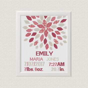 Cross stitch baby birth sampler, birth announcement, modern flower, baby girl, instant download, DIY customizable pattern
