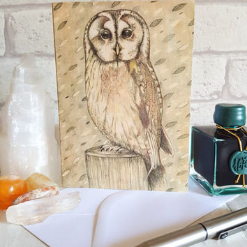 Owl Greetings Card, Owl Note Card, Owl Illustration Art Print, Stationery And Paper, Writing Set, Birthday Card, Thank You Card,