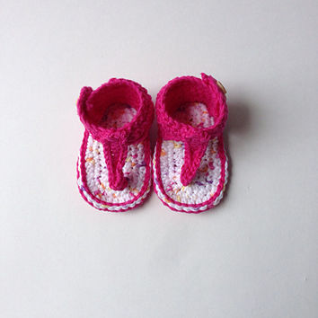 Crochet Baby Girl Gladiator Sandals, childrens crochet flip flops, knit baby sandals, prewalker summer shoes, infant toddler beach sandals,