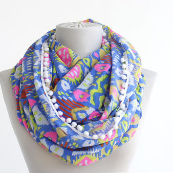 Infinity scarf gauze cotton tube scarf geometric ikat summer scarves women accessories loop scarf