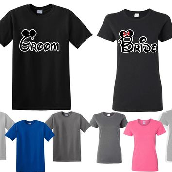 Mickey Minnie Bride Groom His Her Couple Matching Love Set Men Women T-shirt