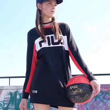 One-nice™ FILA Lady round collar with a loose long sleeve sweater