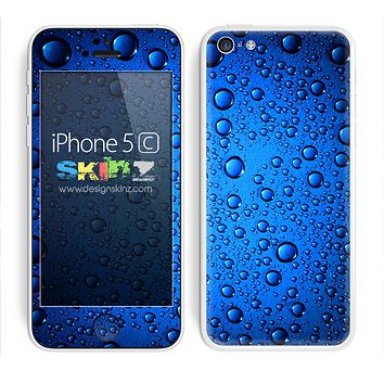 Blue Rain Wet Droplets Skin For The iPhone 5c