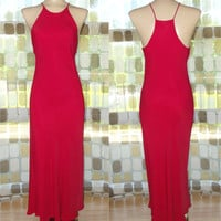 Vintage 80s Retro 30s RED Racer Back Bias Harlow Gown 7 S/M Formal Cocktail Dress