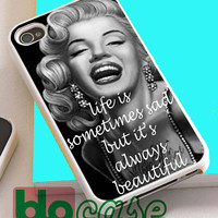 Marilyn Monroe With Tattoo Quotes For Iphone 4/4s, iPhone 5/5s, iPhone 5C, iphone 6, and iPhone 6 Plus Case