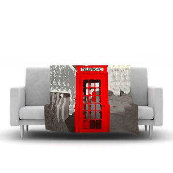 "Oriana Cordero ""London"" Red Gray Fleece Throw Blanket"