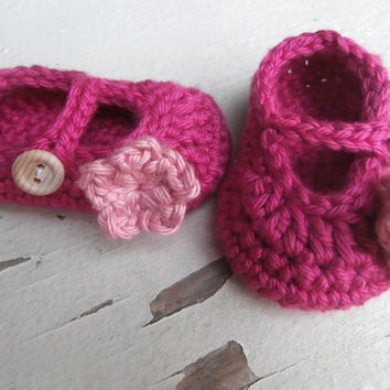 Baby Booties, Crochet Baby Shoes, Pink Baby Girl Booties