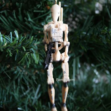 Licensed cool Custom Star Wars BATTLE DROID WITH BLASTER RIFLE DAMAGE Christmas Ornament PVC
