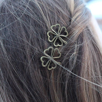 Bronze Four Leaf Shamrock Bobby Pins, Set of Two, Four Leaf Clover Bobby Pin, Bronze Shamrock, Four Leaves, Luck of the Irish