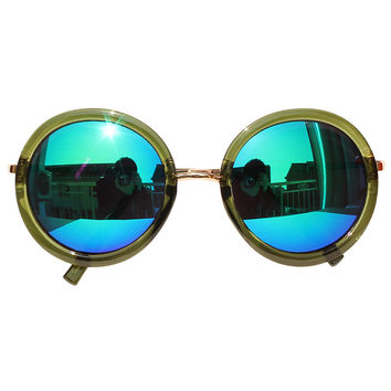 Army Green Mirror Lens Metal Bridge Round Sunglasses