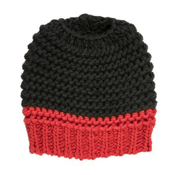 Black and Red Messy-Bun/Ponytail Beanie Hat