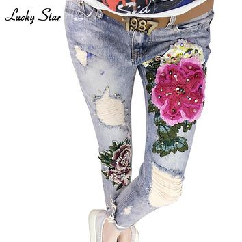3D Flowers Embroidery Women Denim Jeans Flower Skinny Jeans Pencil Pants With Embroidered Flares Lady Ripped Trousers A151