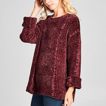 Mulberry Distressed Chenille Sweater