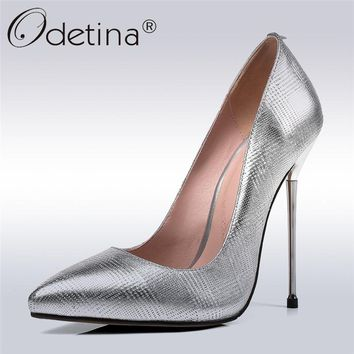 Odetina 2018 New Fashion Women Genuine Leather Pumps Extreme High Heel Slip On Shoes Stiletto Heels Pointed Toe Pump Big Size 45