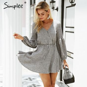 216693159c Simplee Latern sleeve knitted sweater dress women Sexy v neck au