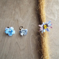 Shades of Blue Flower Dangle Charm Bead Antiques Brass  Dreadlock Accessory Extension Accessories Dread Boho Bohemian Hippie