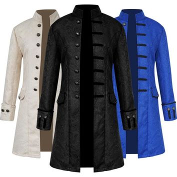 Fashion Solid Color Steam Punk Retro Men Cosplay Stand Collar Long Coat