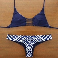 Reversible Swimsuit Navy Blue Bikini +Free Gift Summer Necklace