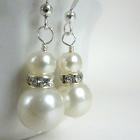 Bridesmaids earrings ivory white pearl earrings silver and ivory rhinestone dangle drops