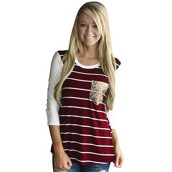 Chicloth Burgundy White Stripe Sequin Pocket Top
