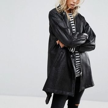 Religion Relaxed Mac Jacket With High Neck In Faux Croc Texture at asos.com
