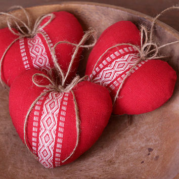 Cottage Hearts - Red Scandinavian Style Plush Ornaments, Set of 3