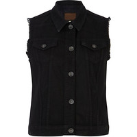 River Island Womens Black eagle badge frayed denim vest