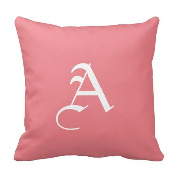 Gothic Style Pink Monogram Pillow
