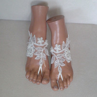 Free ship ivory  Beach wedding barefoot sandals shoes prom party bangle beach anklets bangles bridal bride bridesmaid