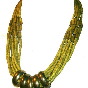 "Sage Green Tribal Bead Necklace Brass Beads Boho Festival 26"" Vintage"