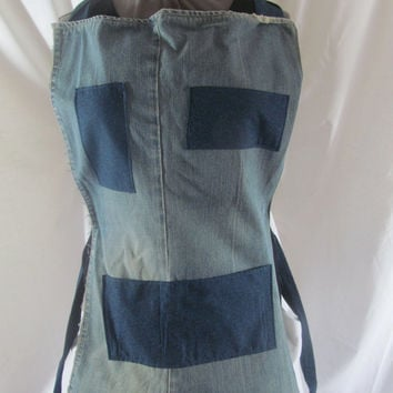 Teal Blue Floral Jean Upcycled Full Apron