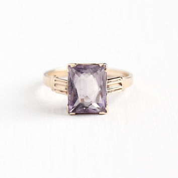 Vintage 14k Rose Gold Amethyst Ring - 1930s Size 6 Light Purple 2+ Carat Rectangular Rose de France February Birthstone Fine Jewelry