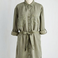 Safari Long 3 Shirt Dress First Friday Fab Tunic in Olive