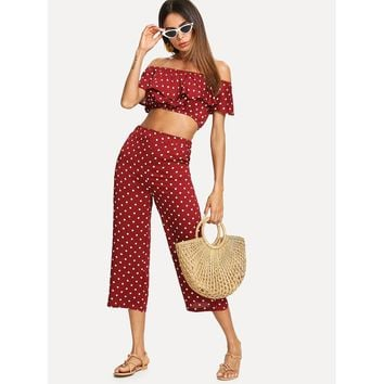 Off Shoulder Polka Dot Crop Top With Pants
