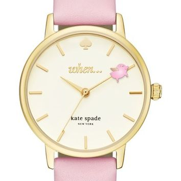 kate spade new york metro round leather strap watch, 34mm | Nordstrom