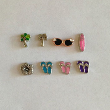 Floating charms for living memory lockets green or silver palm tree, rose gold sunglasses, surfboard, flower, blue, pink or purple flip flop