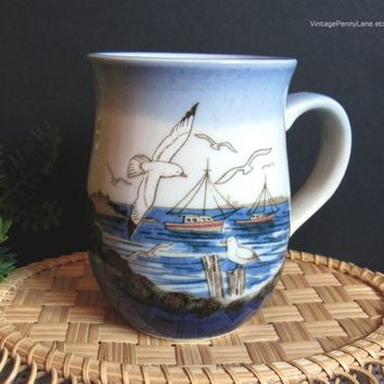 Vintage Nautical Theme Porcelain / Stoneware Coffee Cup / Mug, Seaside Mug