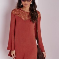 Missguided - Cheesecloth Crochet Trim Swing Dress Rust