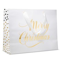 "Sugar Paper ""Merry Christmas"" White Vogue with Gold Dots Gift Bag"