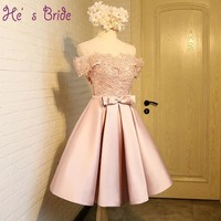 Customized Plus Size Prom Dresses with Lace Appliques 2017 New Knee-length Short Sleeves Party Prom Dress Formal Robe De Soiree