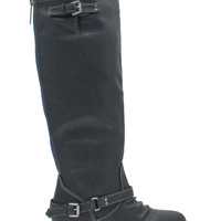 Major Faux Leather Contrast Zipper Boots