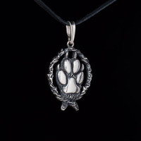 Wolf Paw Pendant, sterling silver, handmade ... beast paw pendant