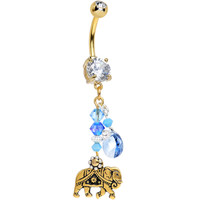 Handcrafted Clear CZ Gold Plated Festival Elephant Dangle Belly Ring | Body Candy Body Jewelry