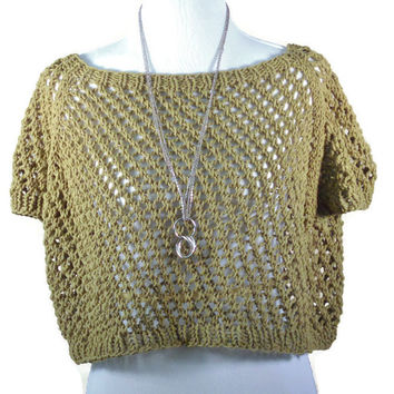 Spring Summer Lace Crop Top, Knit Lace Crop Top, Knit Lace Cover Up, Green, Black, White, Cream, Yellow, - Custom Order