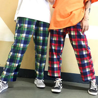 COLORFULL PLAID CASUAL PANTS