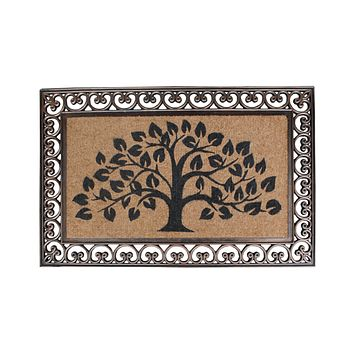 Rubber and Coir Tree of Life Classic Paisley Border Extra Large Double Doormat