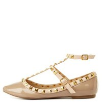 Natural Studded Pointed Toe T-Strap Flats by Charlotte Russe