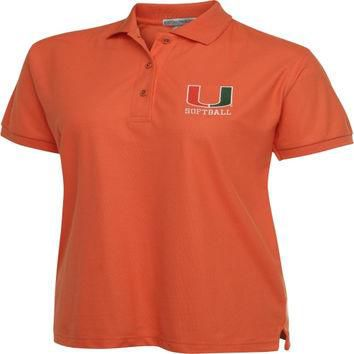 Miami Hurricanes Women's Orange Softball Polo Shirt