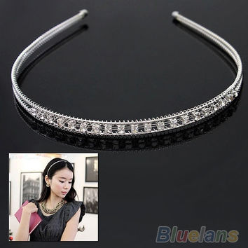 New Charm Wedding Bride Silver Plated Rhinestone Crystal Hair Hoop Clip Headband = 1929456964