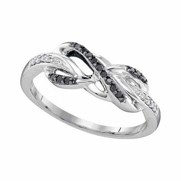 10kt White Gold Women's Round Black Color Enhanced Diamond Infinity Ring 1-10 Cttw - FREE Shipping (US/CAN)